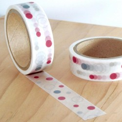 Masking tape poids rouge et gris washi tape dot grey red