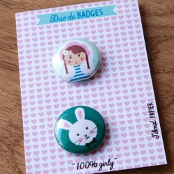 duo de badges 100 % girly Tiboud'papier