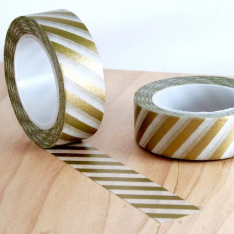 Masking tape lignes dorées diagonales washi tape gold strip