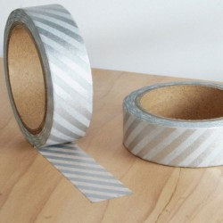 masking tape lignes diagonals argent washi tape silver strip