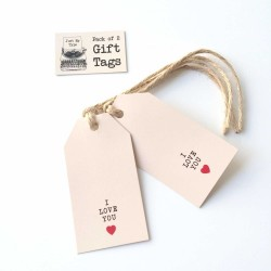 "lot de 2 étiquettes ""I love You"" avec ficelle"