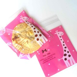 sachets girafe 10X10 papier crystal alimentaire autocollant
