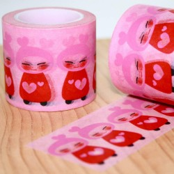 masking tape kokeshi pink washi tape poupée japonaise traditionel rose