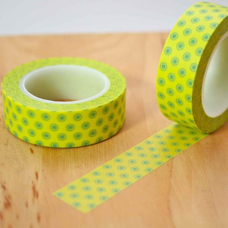 masking tape jaune acide pois vert washi tape shocking yellow dot