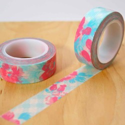 masking tape fleur vichy washi tape flower rose pink