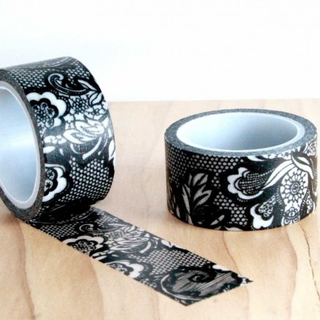 Masking tape large dentelle noir washi tape lace black