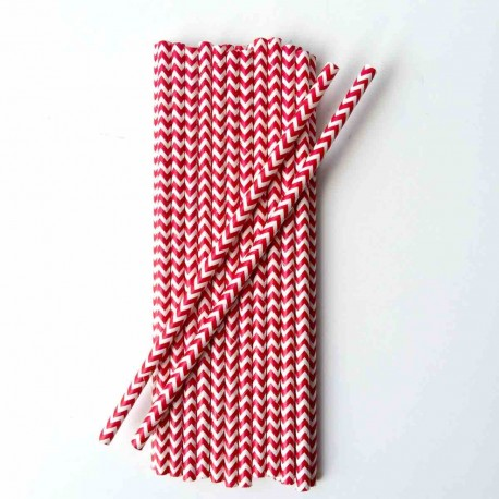 lot de 25 pailles papier chevrons rouges retro vintage