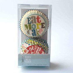 "cupcake cases Mer Meri  "" eat more cake"""
