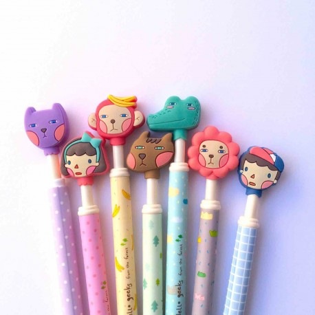 stylo bille gel personnages kawaii colors