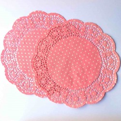 napperons en papier rose clair à pois blanc doilies light pink dot