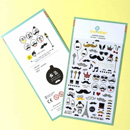 stickets moustaches et paillettes jolie autocollant glitter