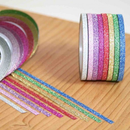 masking tape à paillettes mini slim couleurs