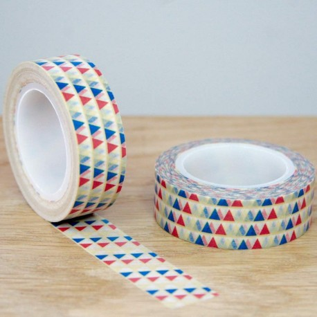 masking tape triangles colorés washi tape piramide