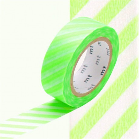 masking tape à rayures obliques vertes fluo washi tape shocking green