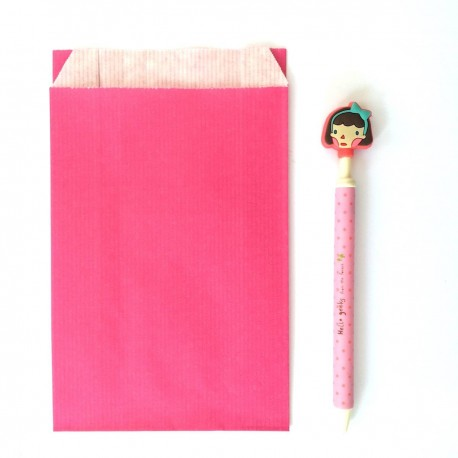 lot de 10 pochette kraft rose 12 / 20 cm emballage deco diy