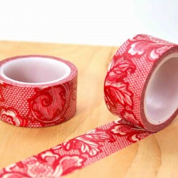 Masking tape large dentelle rouge