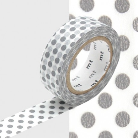 masking tape gros pois gris WASHI TAPE grey DOT