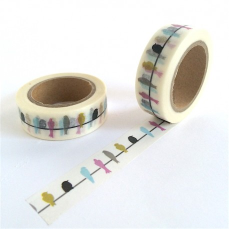 masking tape Hirondelles couleurs washi tape bird colors