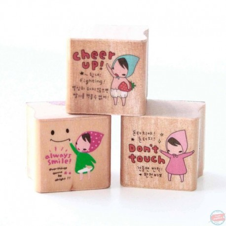 tampons bois petits messages STAMP KAWAII