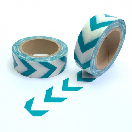 Masking tape gros chevron turquois washi tape blue arrow