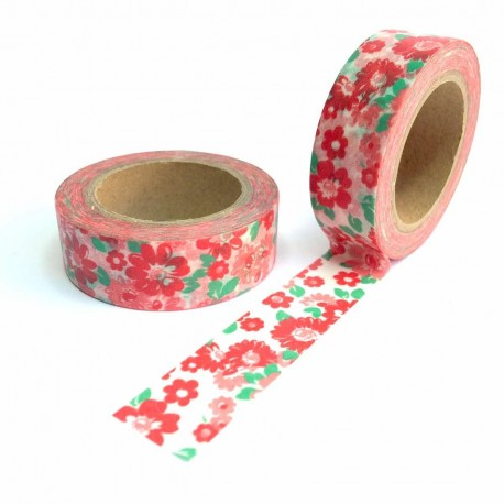 tape fleurs rouge et rose washi tape liberty pink red