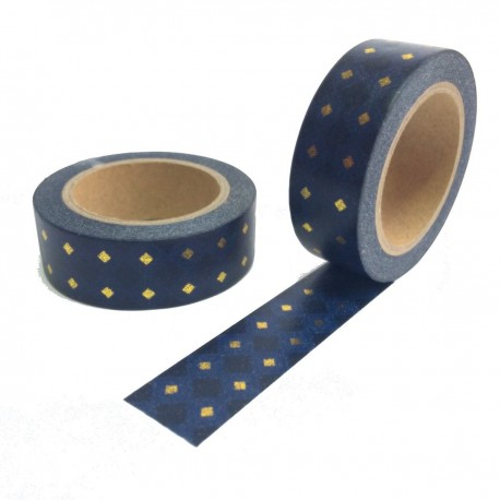 masking tape carre or bleu marine fond noir washi tape black gold navy