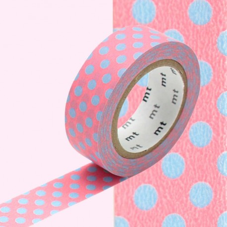 masking tape rose  pois bleu WASHI TAPE pink blue DOT