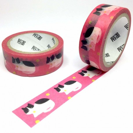masking tape chat noir et blanc rose washi tape cat pink dot yelllow