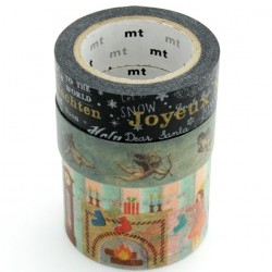 lot de 3 masking tapes noël washi tape Xmas angel gold family