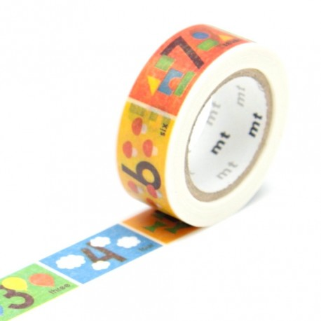 Masking tape kids alphabet 1-10 washi tape illustré