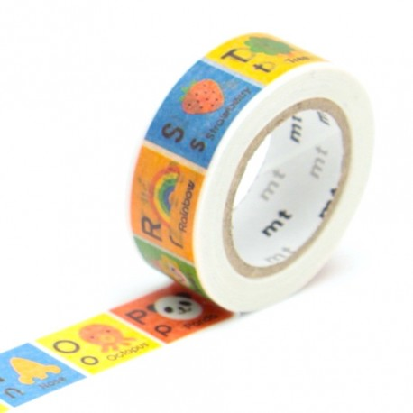 Masking tape kids alphabet N-Z washi tape illustré