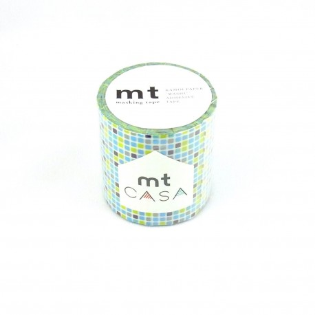 masking tape casa tile blue  washi tape large déco 5 cm