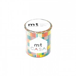 masking tape casa mosaic bright washi tape damier de couleurs 5 cm