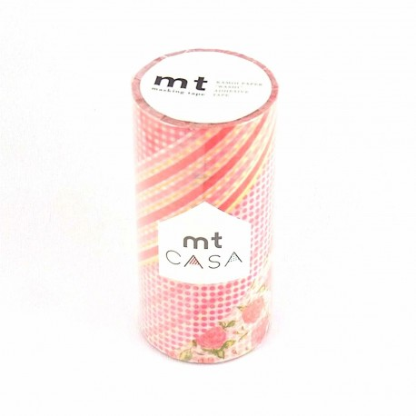 masking tape casa flower red 10 cmwashi tape large fleur rouge rayures