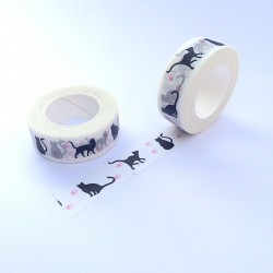 masking tape Chat noir pates rose