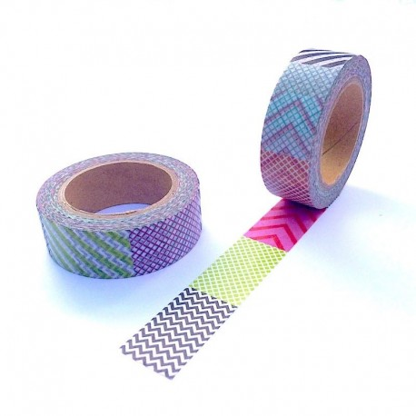Masking tape multi strip washi tape achures diagonale chevron carreaux