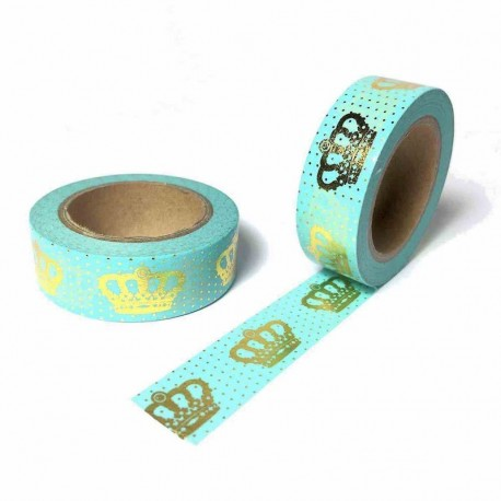 masking tape vert d'eau couronne pois doré washi tape light green gold