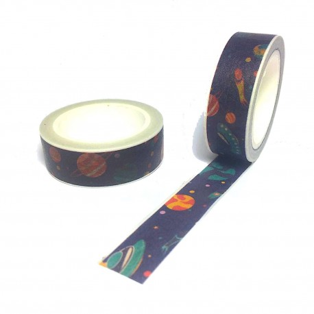 Masking tape secoupe volante washi tape flying saucer navy blue space