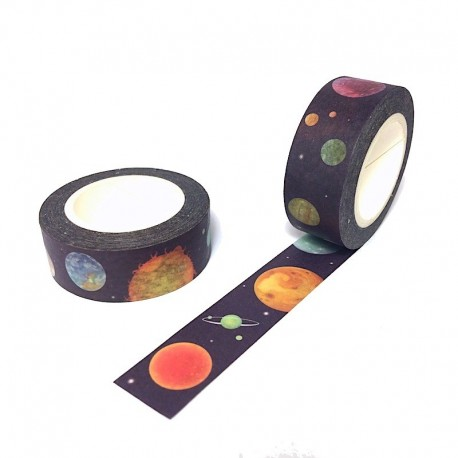 Masking tape cosmique espace washi tape cosmic planet navy blue space