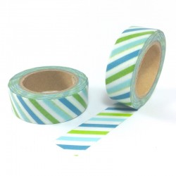masking tape lignes bleu vert blanc washi tape strip blue green
