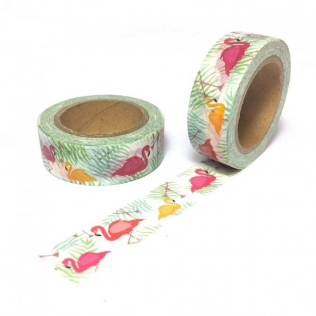 Masking tape jungel flamingovwashi tape flaman rose palm floride