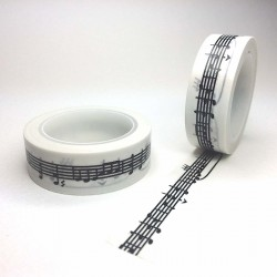 Masking tape portée musicale noir  washi tape music score back white