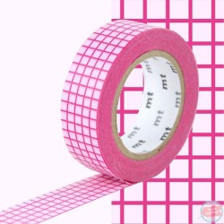 masking tape quadrillé fuchsia sur fond rose washi tape pink square