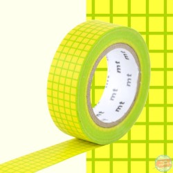 masking tape quadrillé vert sur fond jaune washi tape green yellow